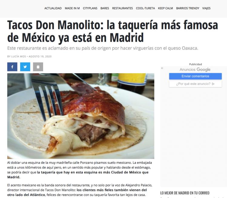 Madrid Secreto Tacos Don Manolito Madrid