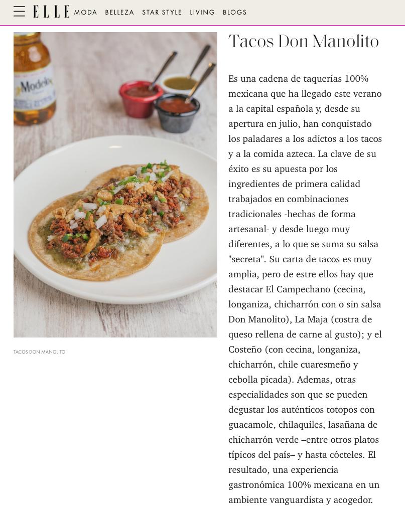 Elle restaurante mexicano Madrid Tacos Don Manolito