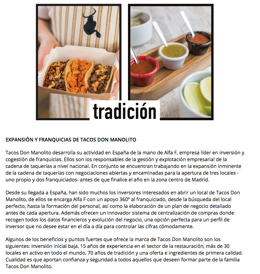 Indisa Tacos Don Manolito noticia franquicias España