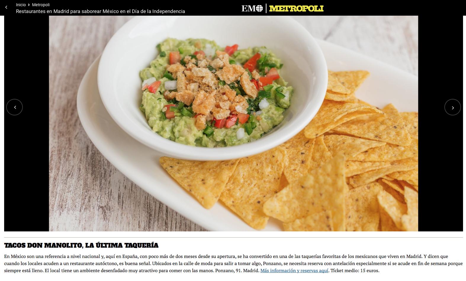 El Mundo Metropoli Tacos Don Manolito