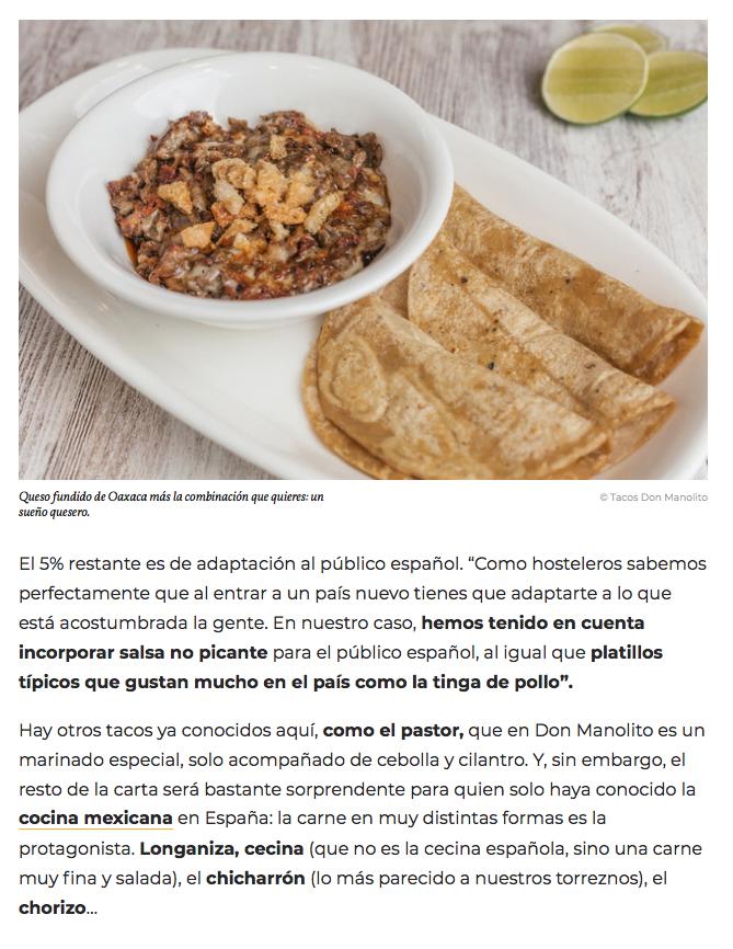 Revista Traveler articulo Tacos Don Manolito
