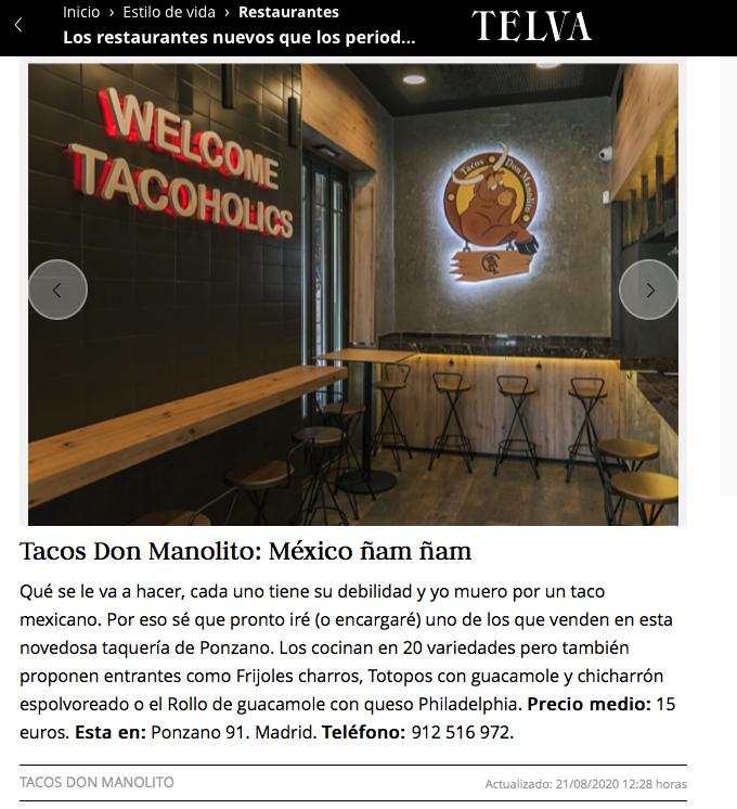 Telva Tacos Don Manolito Ponzano Madrid
