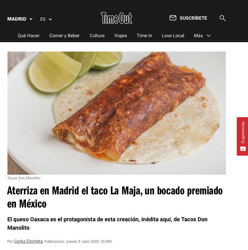 Aterriza en Madrid el taco La Maja, un bocado premiado en México