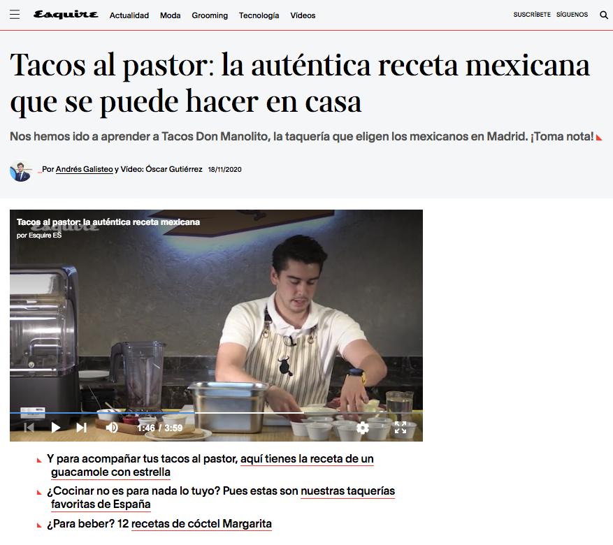 Esquire Alejandro Palacio Tacos Don Manolito